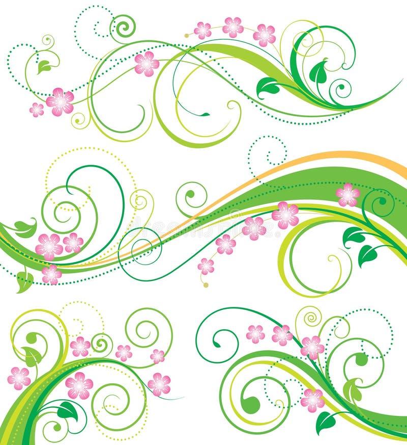 blom- fjäder för dekor royaltyfri illustrationer
