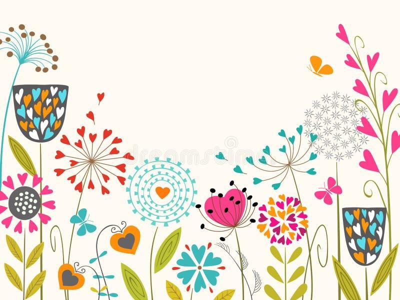 Blom- fjädra designen stock illustrationer