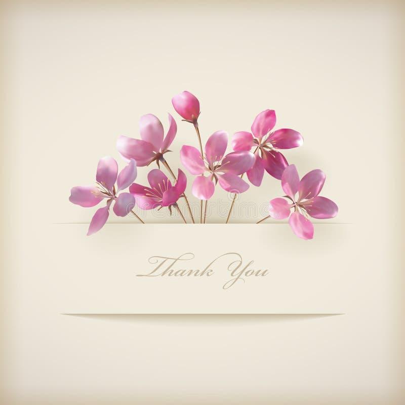 """Blom- fjädra vektorn """"tackar dig"""" det rosa blommakortet vektor illustrationer"""