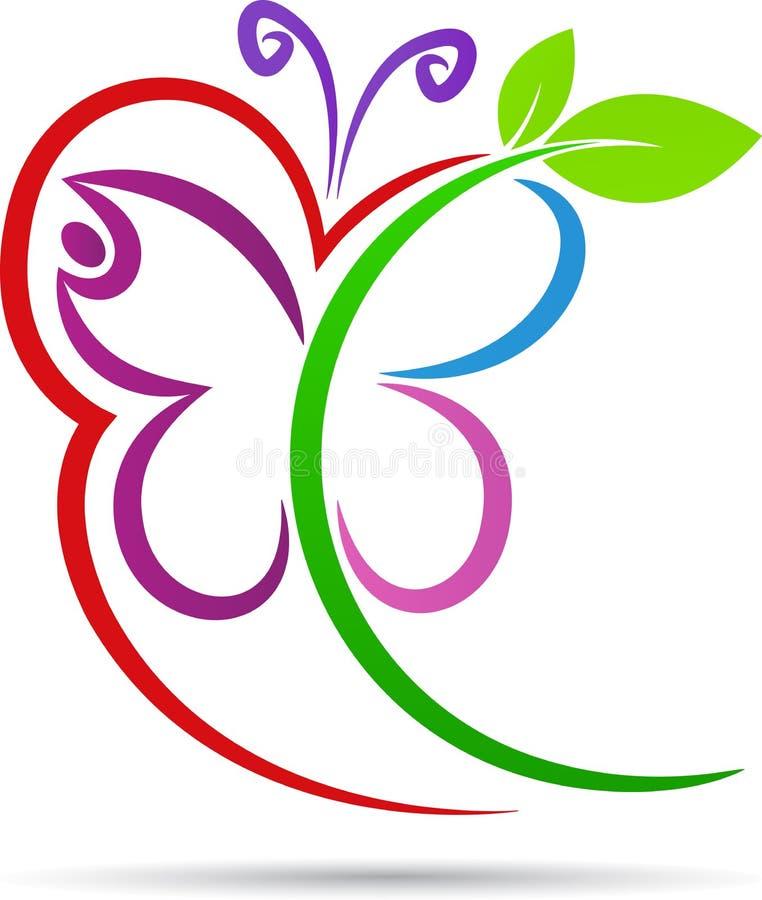 Blom- fjäril stock illustrationer