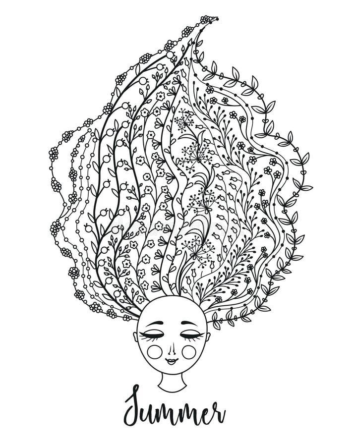 blom- flickahår Kvinna med blommor i huvud Gömma i handflatan med havet och träbrädet unga vuxen människa blodsugare royaltyfri illustrationer