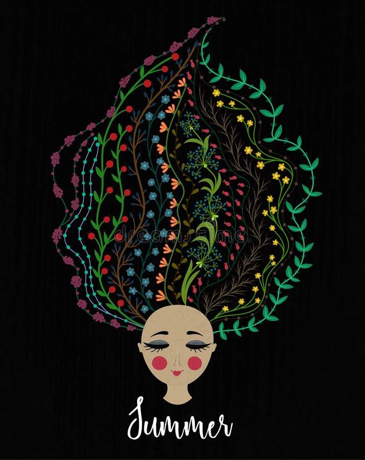 blom- flickahår Kvinna med blommor i huvud Gömma i handflatan med havet och träbrädet unga vuxen människa blodsugare stock illustrationer