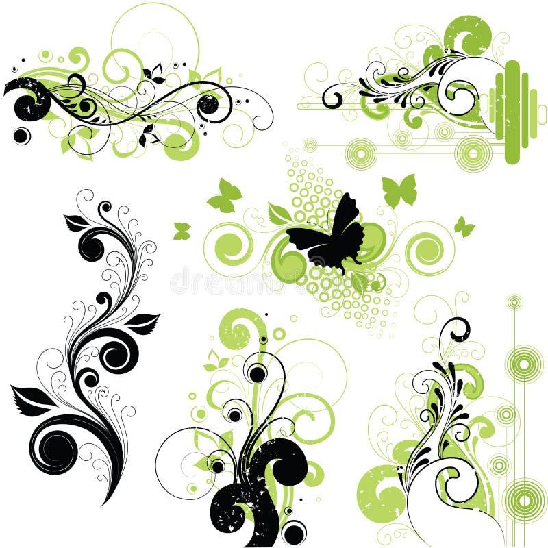 blom- florishes för bakgrund stock illustrationer