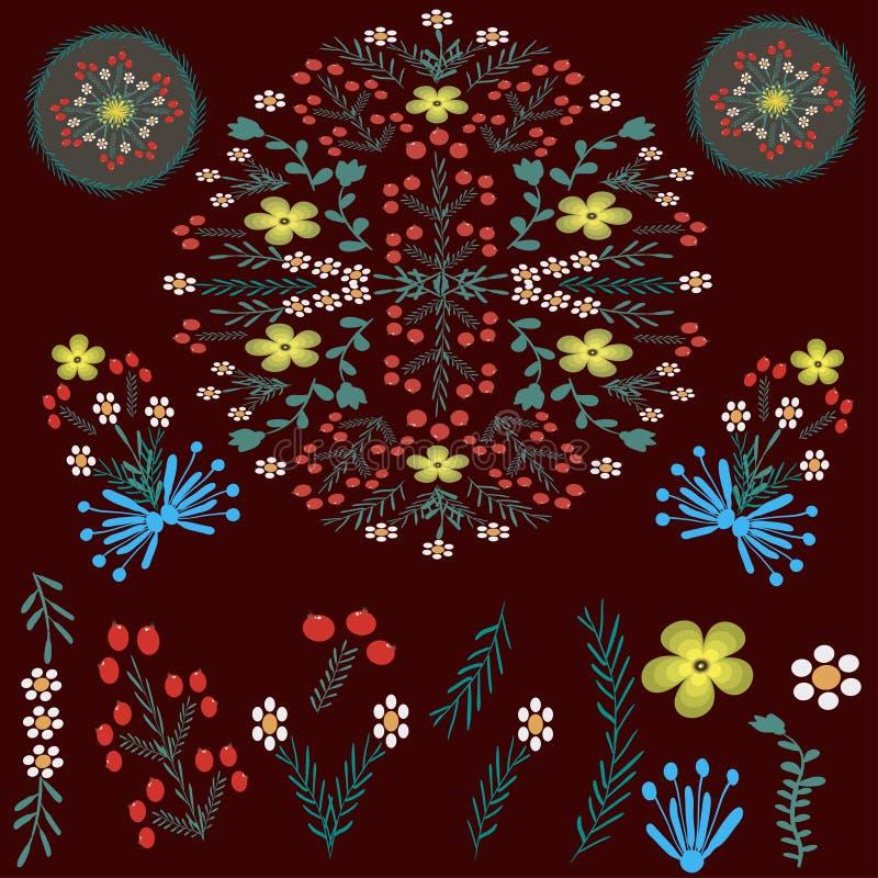 Blom- folk prydnader på ett mörkt - röd färg royaltyfri illustrationer