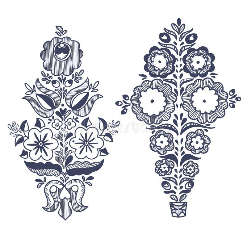 Blom- folkloric beståndsdelar stock illustrationer