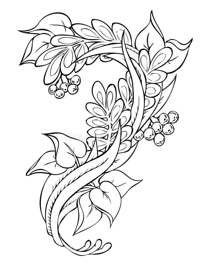 blom- frihands för abstrakt teckning vektor illustrationer