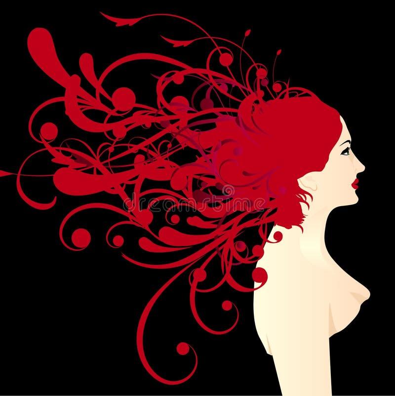 blom- frisyr royaltyfri illustrationer