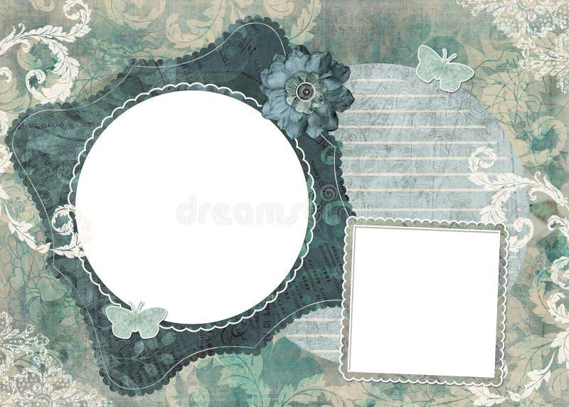 blom- fyra ramar ställde in sjaskigt stock illustrationer