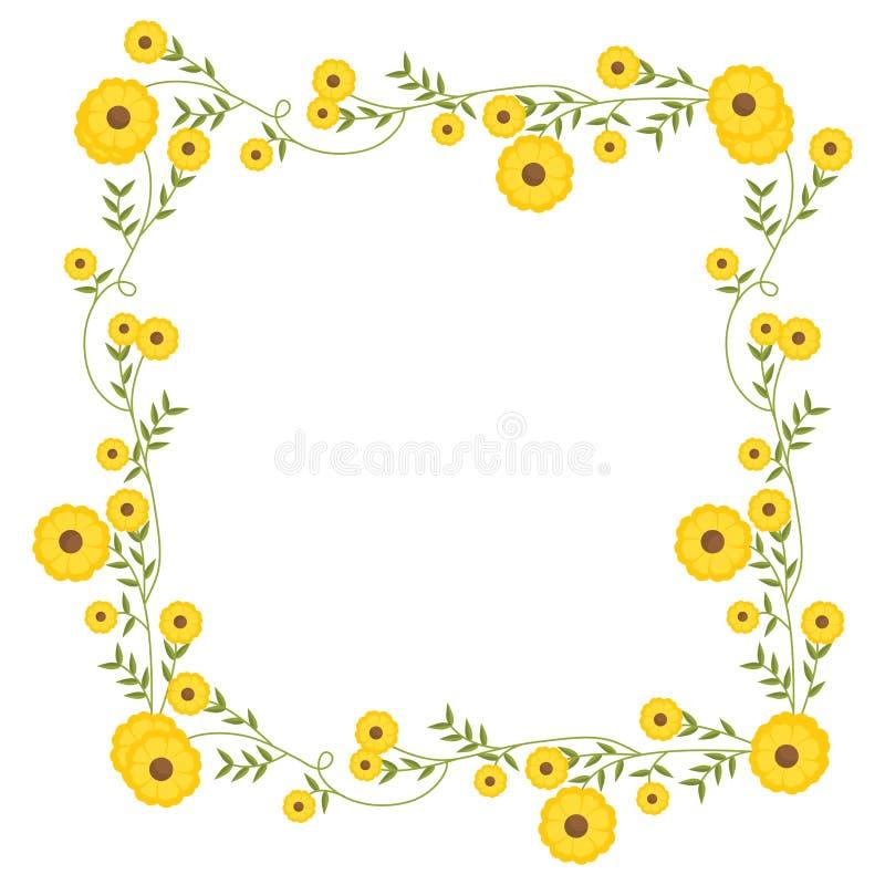 Blom- fyrkantig kransgarnering med gula blommor royaltyfri illustrationer