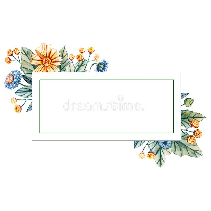 Blom- fyrkantig ram av vattenfärgvildblommor Det finns ett ställe för text royaltyfri illustrationer