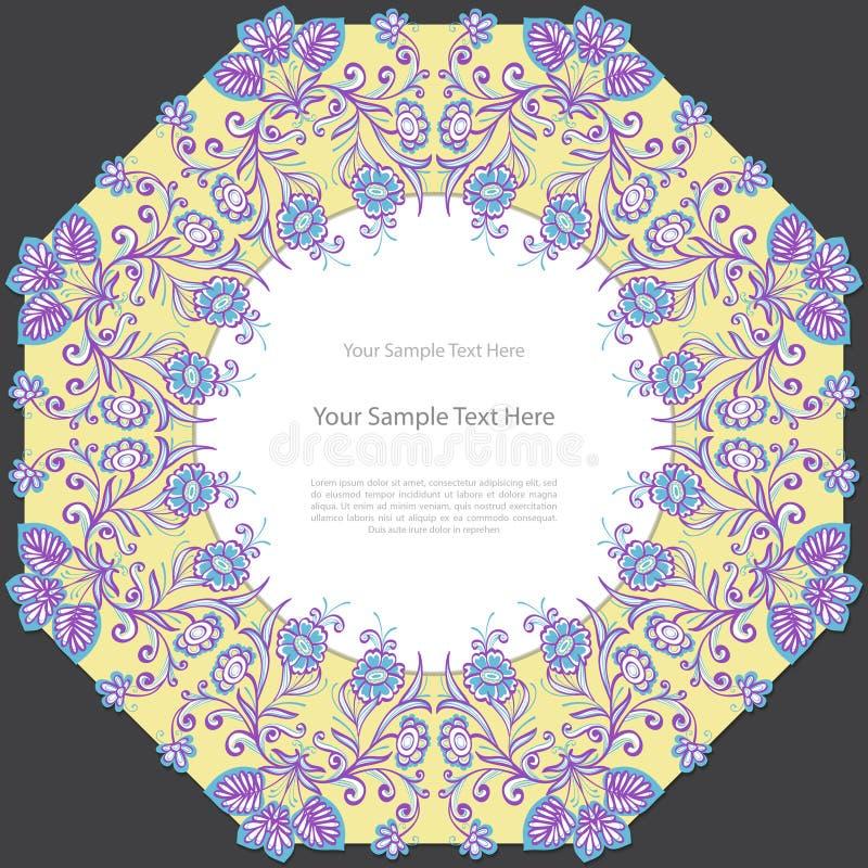 Blom- fyrkantig ram för tappning royaltyfri illustrationer