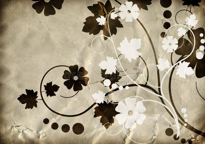 blom- gammal paper modelltextur vektor illustrationer