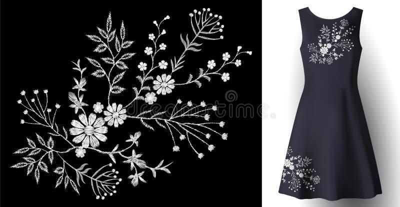 Blom- garnering för realistisk kvinnaklänningbroderi 3d specificerad mode sydd vit prydnadlapp på mörker - blått vektor illustrationer