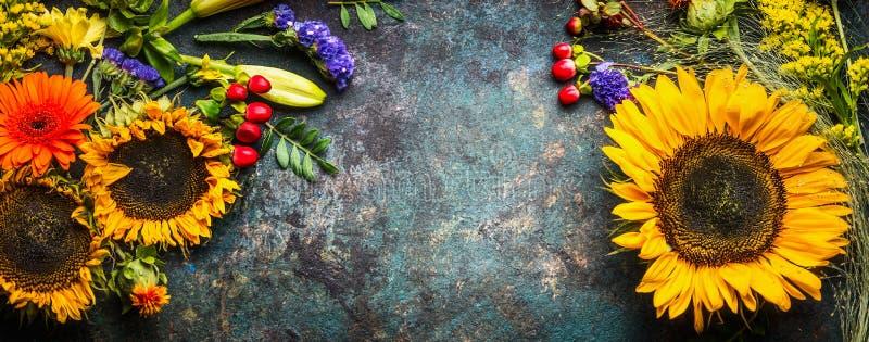 Blom- garnering med solrosor och nedgångblommor och sidor på mörk tappningbakgrund, bästa sikt arkivbild
