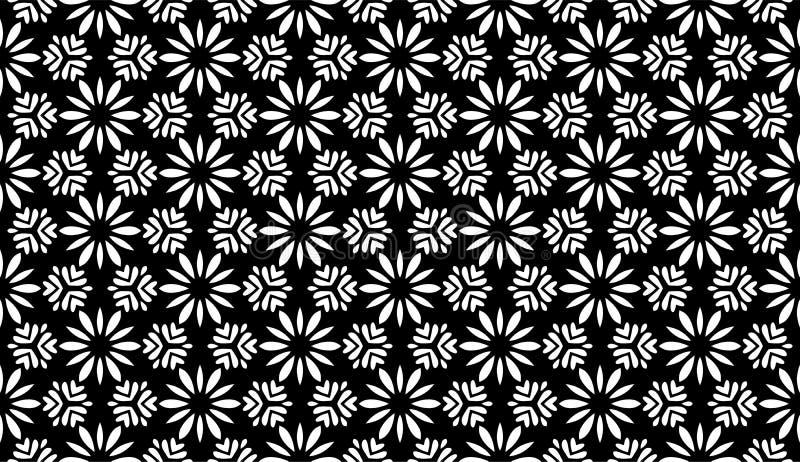 Blom- geometri, svartvit abstrakt sömlös modell royaltyfri illustrationer