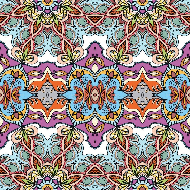 Blom- geometrisk sömlös modell för vektor, etnisk prydnad vektor illustrationer