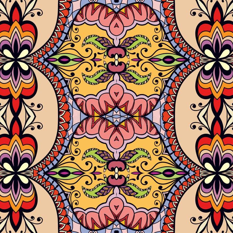 Blom- geometrisk sömlös modell för vektor, etnisk prydnad stock illustrationer