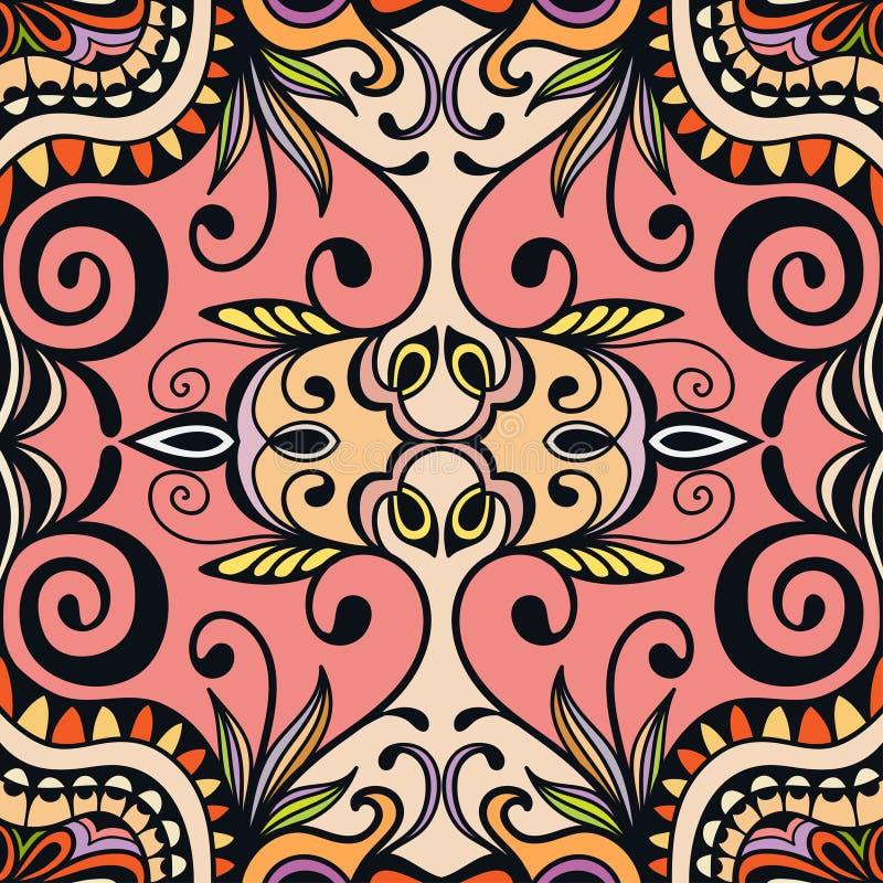 Blom- geometrisk sömlös modell för vektor, etnisk prydnad royaltyfri illustrationer