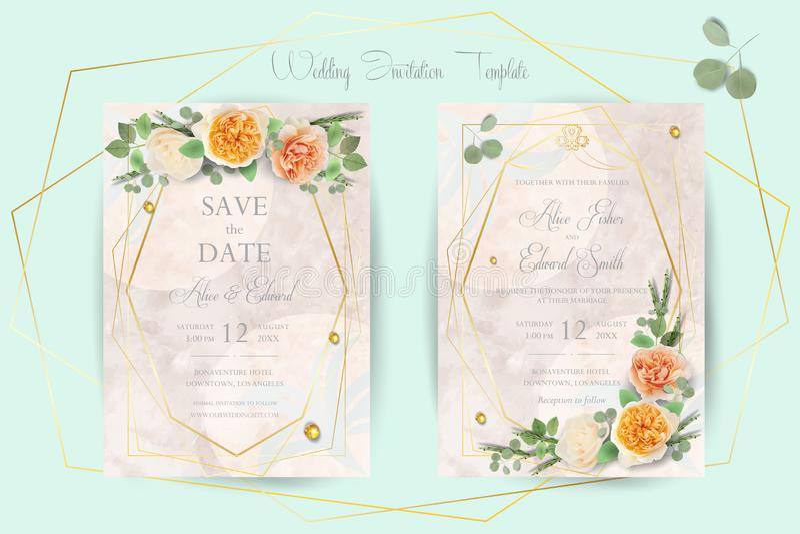 Blom- gifta sig inbjudan, tacka dig, rsvp, sparar datumet, den brud- duschen, förbindelsedagen, kortmalluppsättningen, moderiktig royaltyfri illustrationer