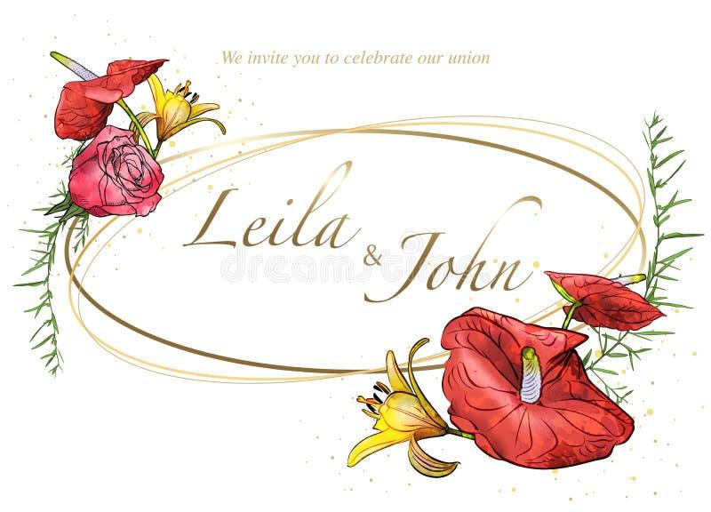 Blom- gifta sig inbjudankort med vattenfärgblommor royaltyfri illustrationer