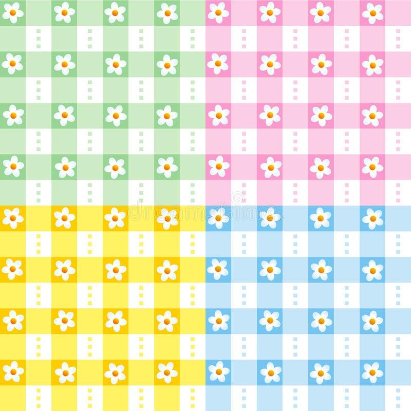 blom- gingham mönsan seamless vektor illustrationer