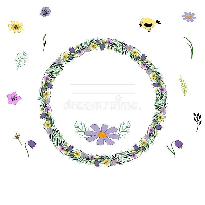 Blom- girland, blom- krans stock illustrationer