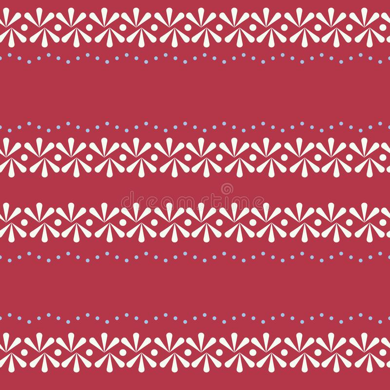 Blom- gräns för vektorfolklore på röd sömlös modellbakgrund stock illustrationer