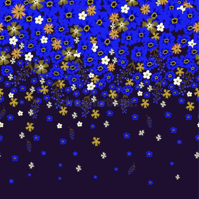 Blom- gräns med gulliga små ditsy blommor också vektor för coreldrawillustration vektor illustrationer