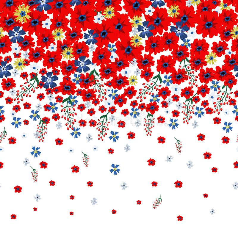 Blom- gräns med gulliga små ditsy blommor också vektor för coreldrawillustration royaltyfri illustrationer
