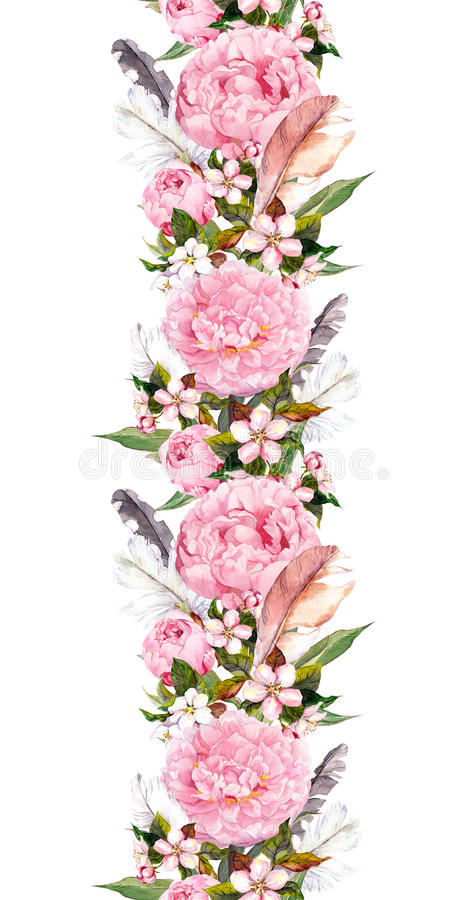 Blom- gräns med rosa pionblommor, den körsbärsröda blomningen och fågelfjädrar Upprepa bohobanret vattenfärg royaltyfri illustrationer