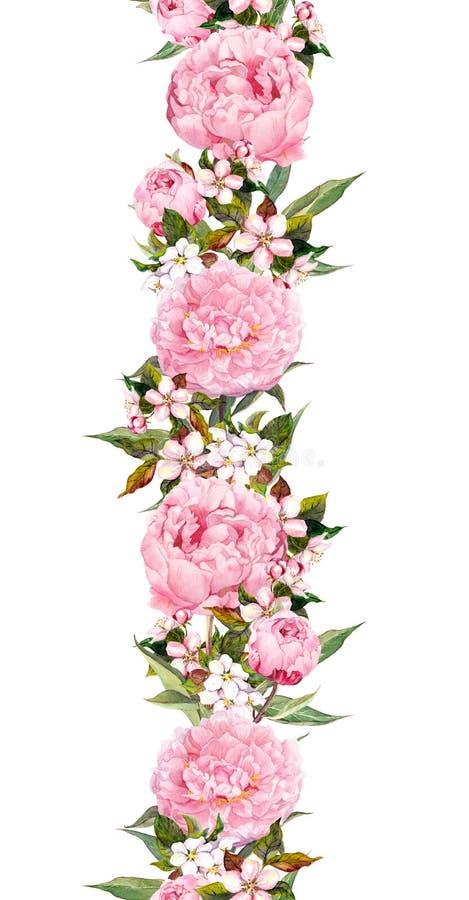 Blom- gräns - pionen och den körsbärsröda blomningen blommar Sömlöst bröllopband vattenfärg vektor illustrationer