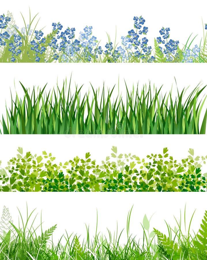 blom- gräsgreen för baner vektor illustrationer