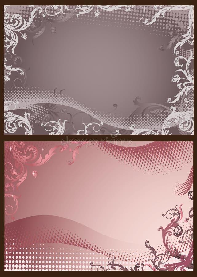 blom- grå rastrerad pink för bakgrunder vektor illustrationer