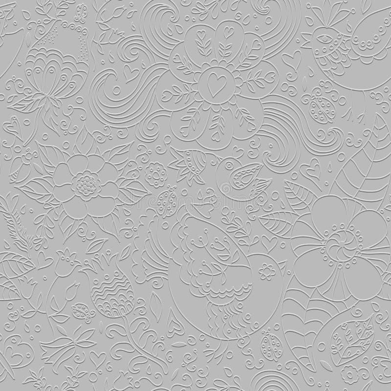 Blom- grå sömlös modellbakgrund med textur vektor illustrationer