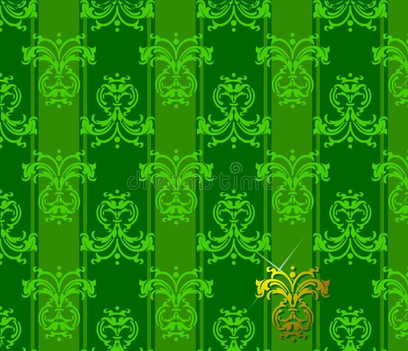 blom- grön patten stock illustrationer