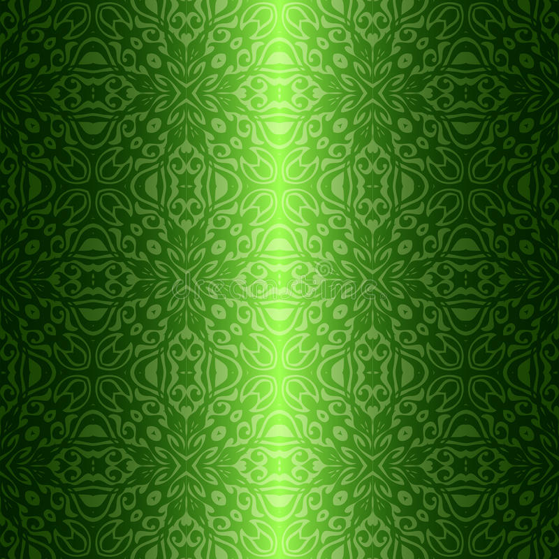 Blom- grön sömlös modell för damast tappning vektor illustrationer