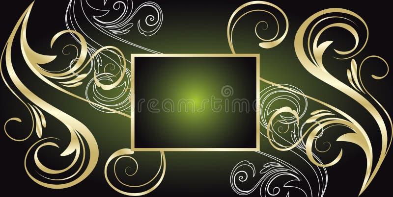 blom- grön vektor för baner royaltyfri illustrationer