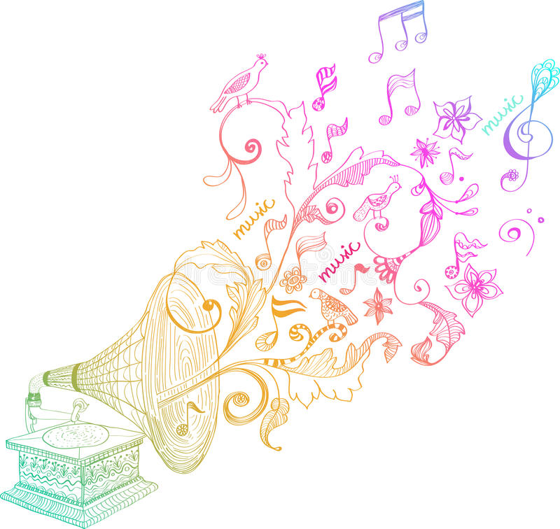 blom- grammofonprydnadtappning royaltyfri illustrationer