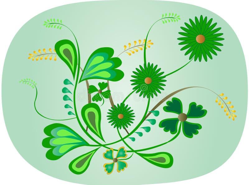 blom- green royaltyfri illustrationer