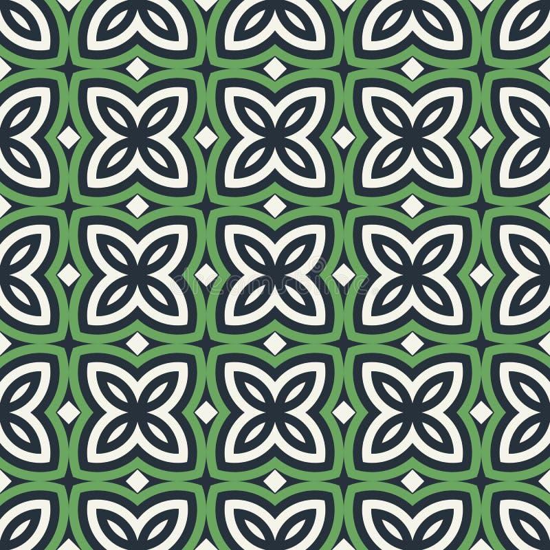 blom- green för abstrakt bakgrund Sömlös modell med den symmetriska geometriska prydnaden royaltyfri illustrationer