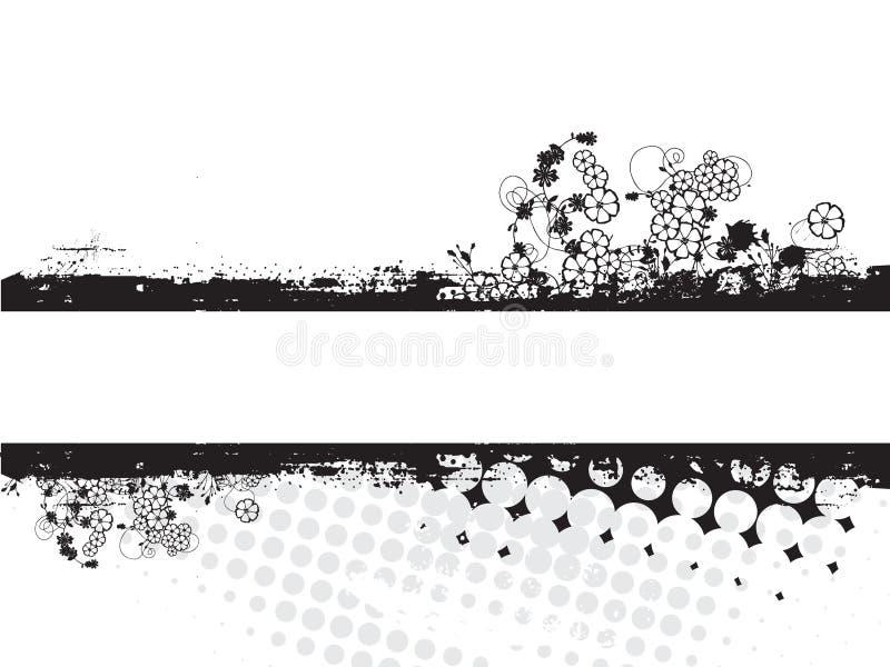 blom- grunge stock illustrationer