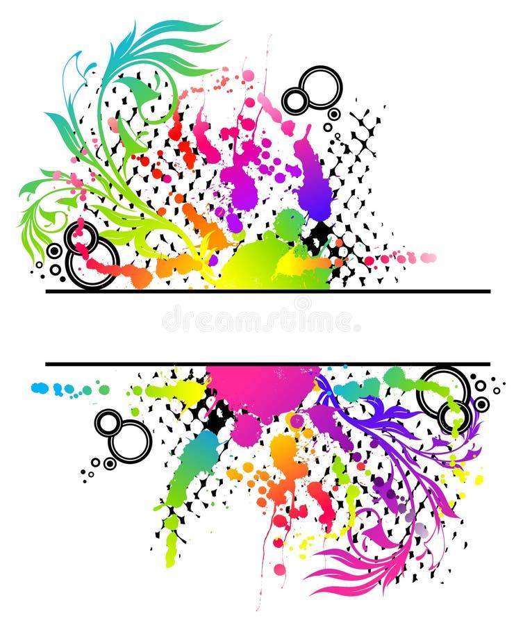 blom- grunge för abstrakt baner stock illustrationer