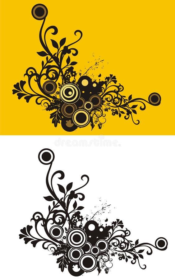 blom- grunge för hörn stock illustrationer