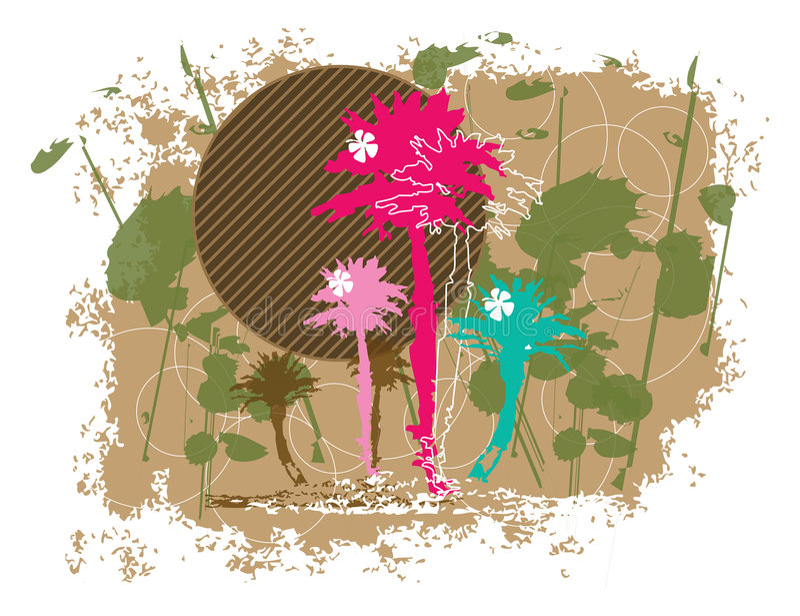 blom- grungepalmträd vektor illustrationer