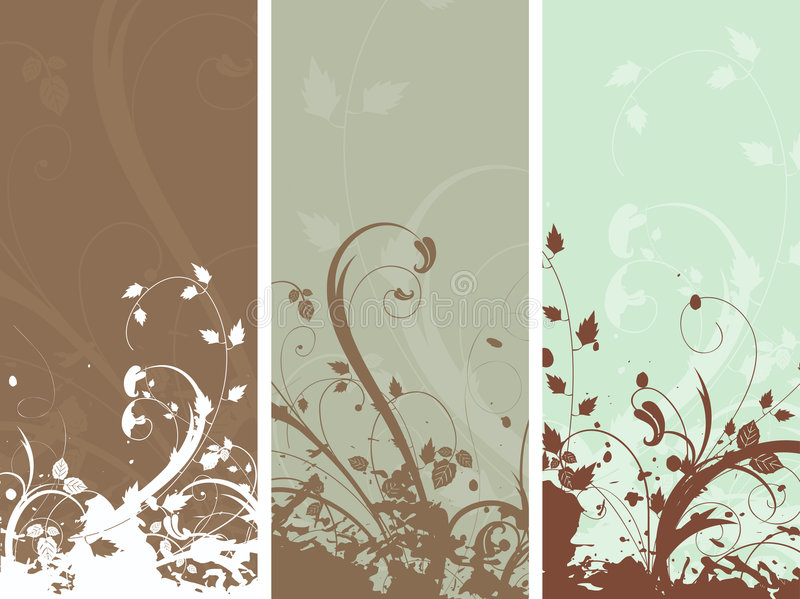 blom- grungepaneler royaltyfri illustrationer