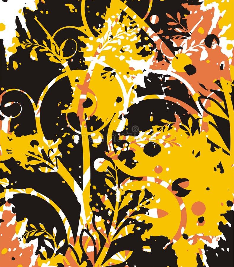 blom- grungeserie stock illustrationer