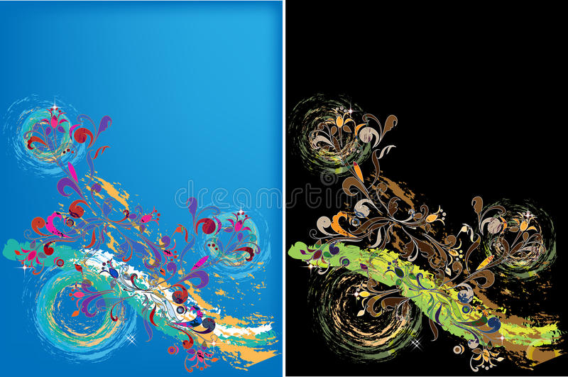 blom- grungeserie för bakgrund stock illustrationer