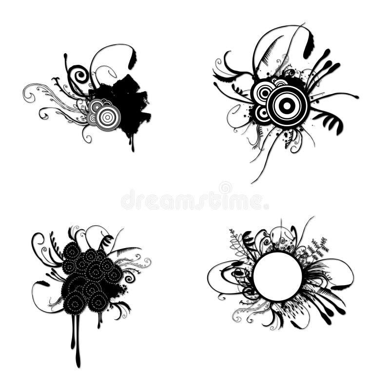 blom- grungeset stock illustrationer