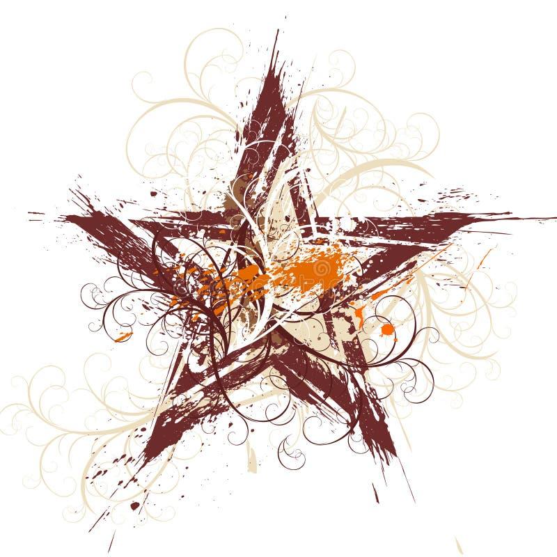 blom- grungestjärna stock illustrationer