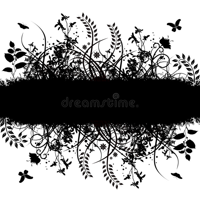 blom- grungevektor för baner stock illustrationer